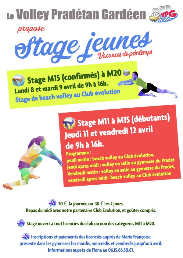 affiche stage volley avril 2019